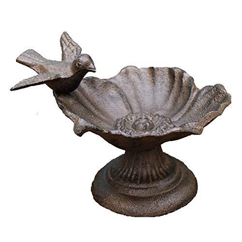 BAODI Comedero para Pájaros Pájaro de Estilo Rural Alrededor del círculo Flower Flowed Diseño de Hierro Fundido Metal Alimentador de pájaros para jardín y Patio