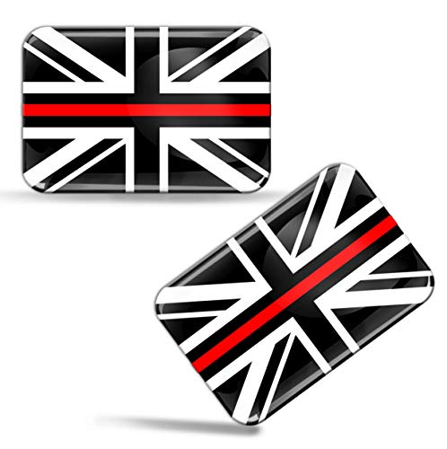 Biomar Labs® 2 x Aufkleber 3D Gel Silikon Stickers England UK Grossbritannien Thin Red Line Flag Dünne Rote Linie Feuerwehr Flagge Fahne Auto Motorrad Fahrrad Fenster Tür PC Handy Tablet Laptop F 53