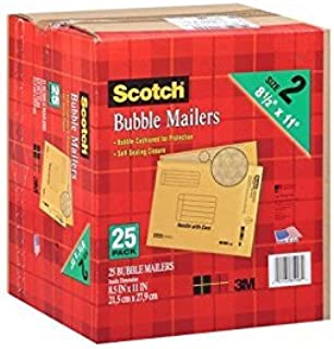 2 Pack of 25 Scotch 8.5 x 11 inches Bubble Mailer Bundled by Maven Gifts