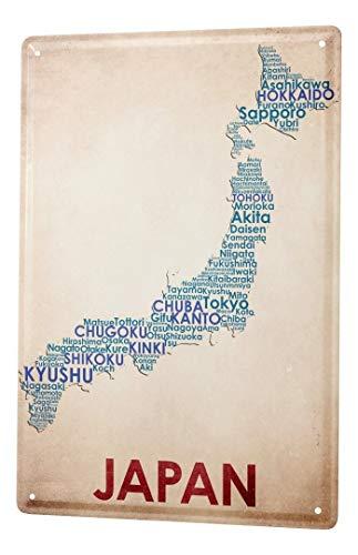 LEotiE SINCE 2004 Cartel Letrero de Chapa Aventurero Mapa de Japón