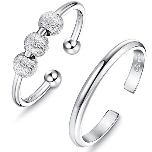 Anxiety Anillo giratorio Anxiety, anillos para mujer, juego de anillos geométricos, anillo de plata de ley 925, anillos finos abiertos, ajustables, apilables, Cobre,