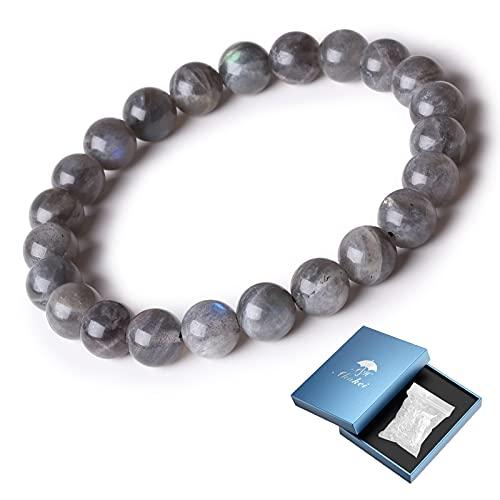 Ahokei Bracelet en Pierre Naturelle Bracelet en pierre de lune Rond 8MM Cadeaux pour la fête des mères / pères Bracelet en Perles Naturelles Extensible Bracelet en Pierre Bracelets Unisex
