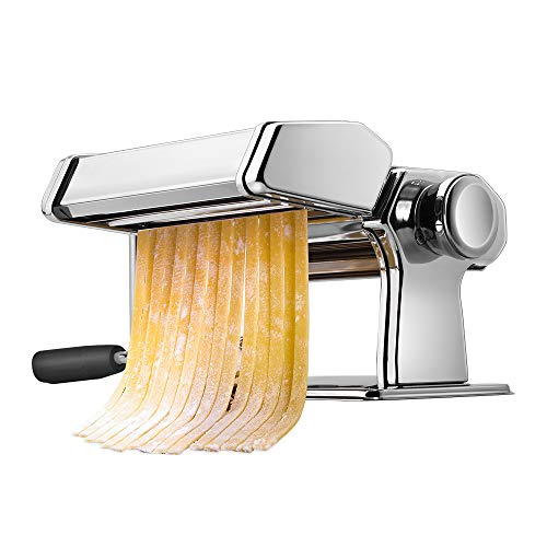 Pasta Machine, iSiLER 150 Roller Pasta Maker, 9 Adjustable Thickness Settings Noodles Maker with Washable Aluminum Alloy Rollers and Cutter,Perfect for Spaghetti, Fettuccini, Lasagna or Dumpling Skins