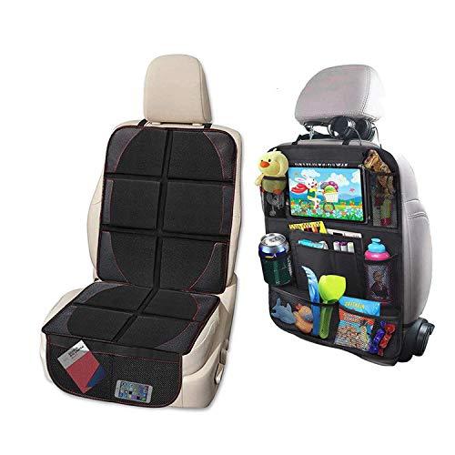 Protector de asiento de coche y alfombrilla para patadas, protege la tapicería del coche de los asientos, bolsillos de almacenamiento, protectores de asiento de coche para bebés y niños, 2 unidades