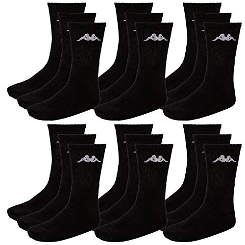 Kappa Herren Socken, 18 Paar, Freizeit -, Sport -, Wander -,Tennissocken (43-46, 005 black)