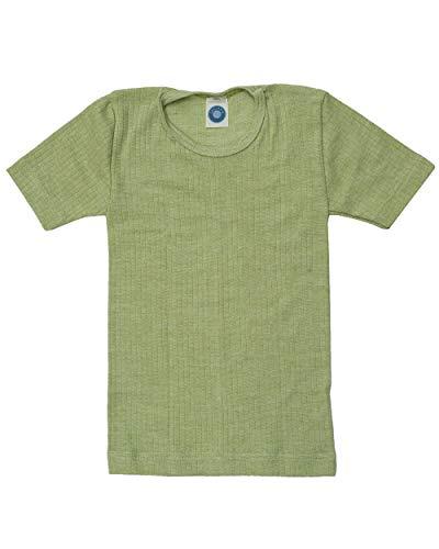 Cosilana, Kinder Unterhemd Kurzarm, 45% KBA Baumwolle, 35% kbT Wolle, 20% Seide (152, Grün meliert)