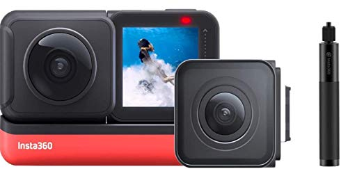 Insta360 ONE R Sports Video Adaptive Action Camera (Twin Edition) Bundle with 4K Wide Angle Lens 5.7K Dual Lens Stabilization 360 Waterproof, Comes 64GB Micro SD, Invisible Selfie Stick