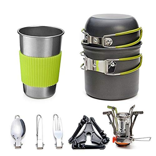 ZLDGYG JJCDY - Juego de utensilios de cocina para acampar al aire libre, de aleación de aluminio, con cuchara plegable, mini estufa de gas