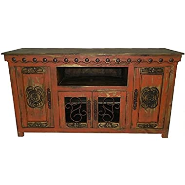 Hi End Rustic Medieval Hand Scrape 67 inch TV Stand Available In 9 Colors (Red)