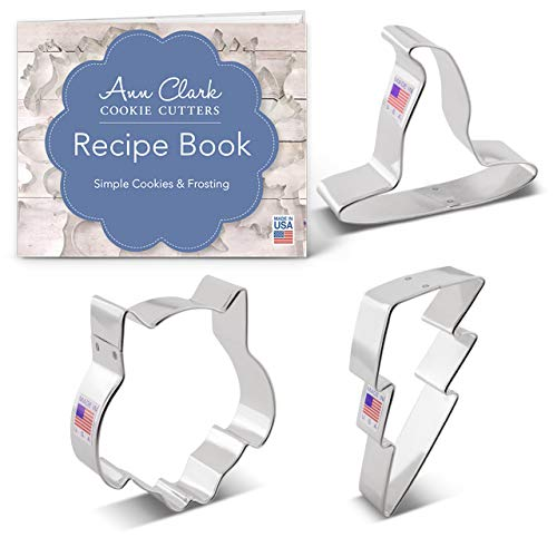 Ann Clark Cookie Cutters Witchcraft and Wizardry Cookie Cutter Set - 3 piece - Owl Lightning Bolt & Witch's Hat - Ann Clark - USA Made Steel