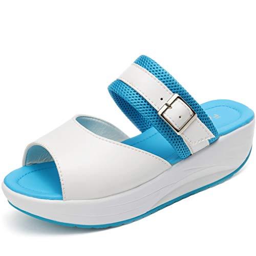 Solshine Damen Leichte Lederoptik Offene Zehen Sandalen Slippers Pantoffeln