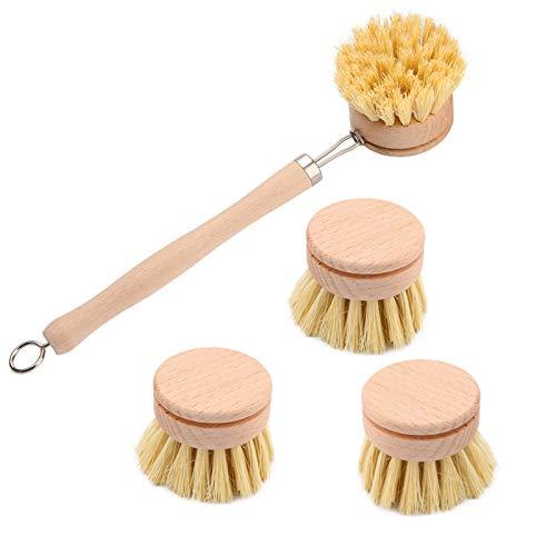 Cepillo para Platos de Madera Cepillo Largo con 3 Cabeza de Repuesto para Limpiar Utensilios Cocina, Cepillo de Madera para Lavar Platos, para Ollas, Sartenes, Platos