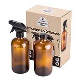 YaKa Sprühflasche 500ml - 2 Stück Multifunktionale Braunglas - Sprühflasche Glas - 500 ml Leer mit Schraubverschluss - Ohne BPA Und Sicher - Mit 2 Aufklebern - Ideal für Friseursalon, ätherische Öle