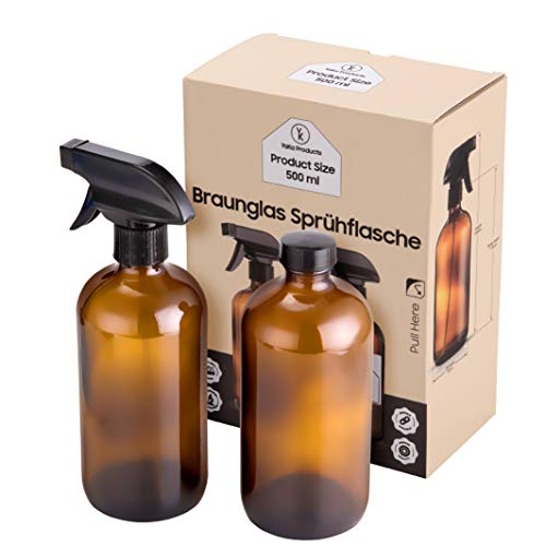 YaKa Sprühflasche 500ml - 2 Stück Multifunktionale Braunglas - Sprühflasche - 500 ml Leer mit Schraubverschluss - Ohne BPA Und Sicher - Mit 2 Aufklebern - Ideal für Friseursalon, ätherische Öle
