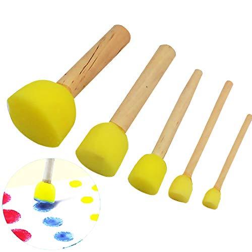 Bobury 5pcs Esponja para niños Esmalte Agua Acuarela Aceite Gouache Esmalte de pintura acrílica