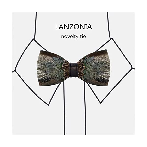 Lanzonia Feather Bow Tie for Men's Handmade Bowtie …