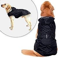 MEEWIN ペットレインコート 犬 レインコート 反射テープ ポケット フード付き リード穴あり 通気 軽量 散歩 防水 着脱簡単 小型犬にも 大型犬にも、S-5XLサイズ3色選択可 (5XL black)