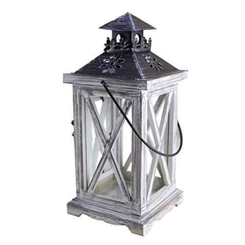 BESTonZON Portacandele Lanterna Decorativa in Legno in Stile Rustico Europeo per Tavolo da Pranzo con appendi Abiti da Parete per Esterni