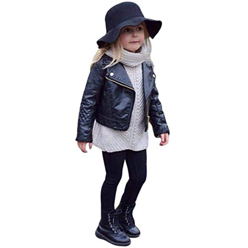 GLIGLITTR Toddler Baby Boy Girl Motorcycle Faux Leather Jackets Coat Winter Outwear for 1-5Y (Black, 12-18M(Size 80))
