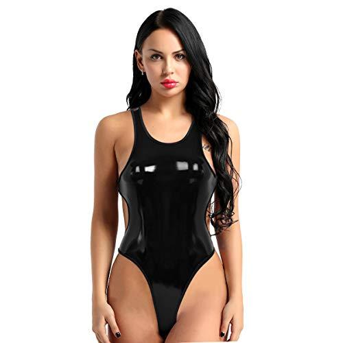 iEFiEL Costume Intero Donna Pelle Body Elastico Costume da Bagno Estivo Monokini Sexy Bikini Push Up Mare Piscina Babydoll Discoteca Lingerie Sexy Hot per Sesso Nero M