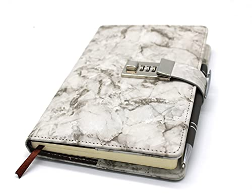 A5 Marble Diary with Lock and Key for Girls and Boys,Teen Cute Journal with Lock and Key for Women and Girls, Diary Lock Girls Journal with Ballpoint Pen for Touch Screen and Normal Writing…