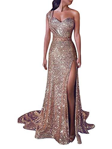 Minetom Damen Festlich Hochzeit Kleider Glänzend Pailletten Elegant Lang Abendkleid Ärmellos Trägerlos Cocktailkleid Maxikleid Partykleid Gold DE 38
