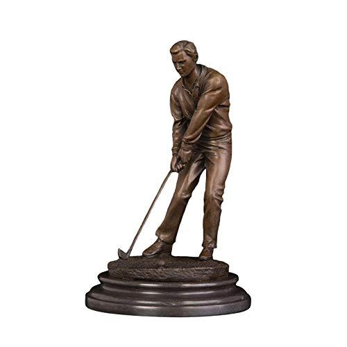 FUYIO Bronze Sport Homme Art Ornement Petite Statue de Golfeur sculptuer