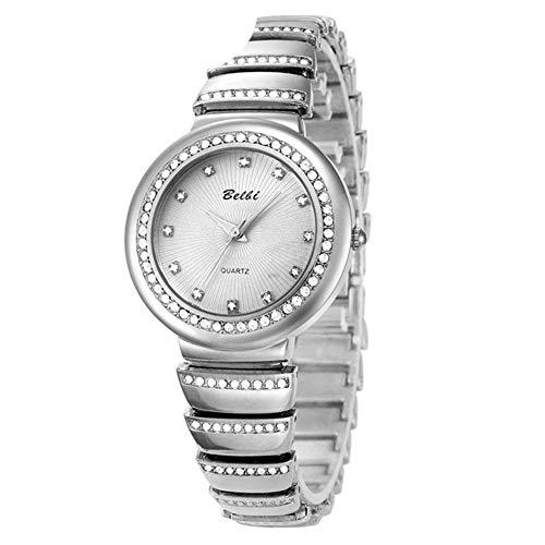 SW Watches Relojes De Las Mujeres, Rhinestones Diseño De La Correa Elástica, Pulsera De Las Señoras De La Moda Reloj De Cuarzo Muñeca con Banda De Acero (Oro, Plata),A