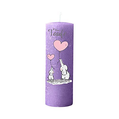 Kerzenhelden Taufkerze mit Namen und Datum Motiv Elefanten mit Luftballons Geschenk Taufe Rustic Mittelflieder