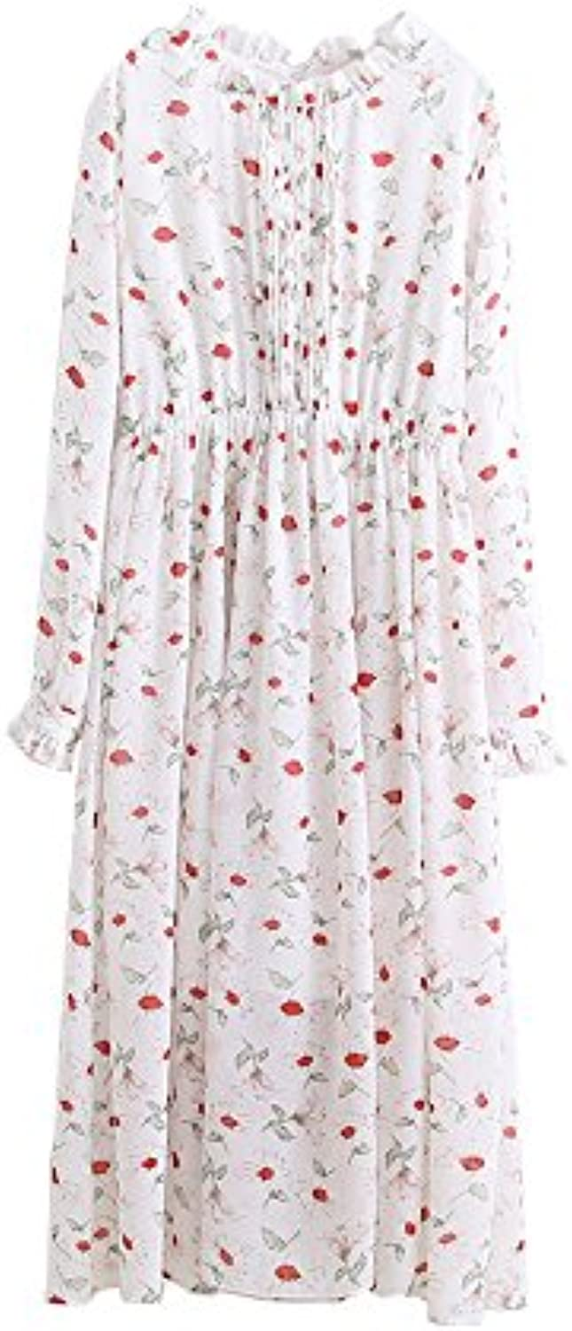 XIURONG Spring And Summer Floral Dress Skirt Knee Loose Travel