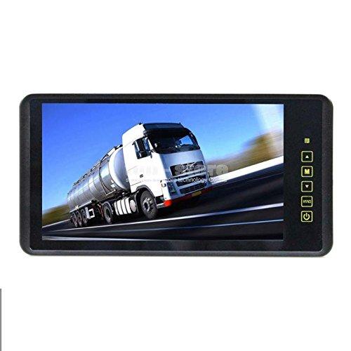 YMPA 23 cm 9 Zoll inch TFT LCD Video Monitor Rückspiegel Innenspiegel Spiegel für Rückfahrkamera Rückfahrsystem Auto KFZ PKW Transporter Wohnmobil 12V mit Zwei Videoeingängen LCM-SP9
