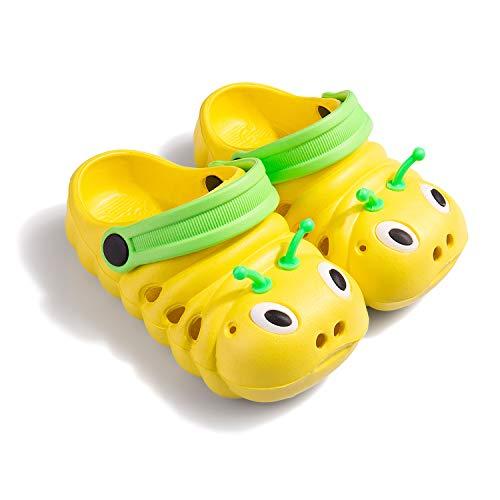 Baby Girls Boys Sandals Kid's Cute Lightweight Shoes Summer Premium Cartoon Sandals Children Caterpillar Non-Slip Beach Water Clogs Shoes Garden Slipper(Yellow,8) S25