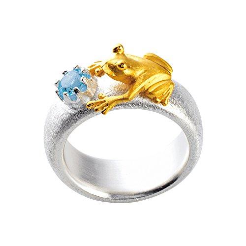 Drachenfels Luxus Damen Ring aus der Kollektion Froschkönig | teilgoldplattierter Ring mit einem blauen Topas | Designerschmuck veredelt & goldplattiert