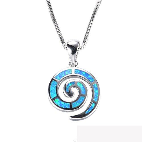J.Memi's Halskette Damen Kette Sterling Silber 925 Blau Muschel Opal Synthetische Zirkonia Anhänger Mädchen Muttertag Weihnacht 18''