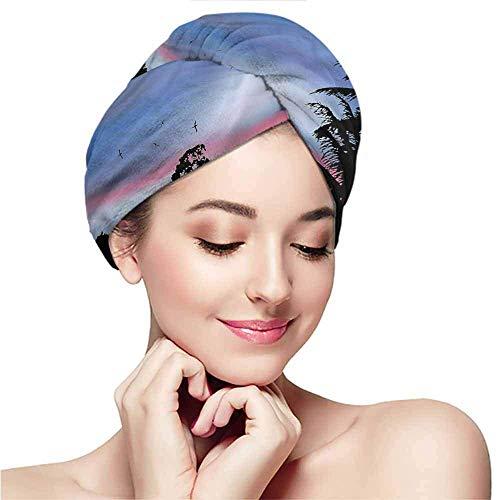 Serviette pour Cheveux secs, Serre-tête, Serre-tête, Capuchon pour Serviette de Bain, Source Chaude, forêt, Palm Tree Silhouette Exotic