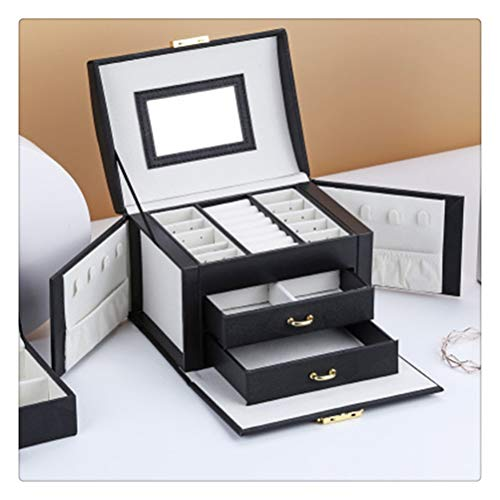 zaizai Jewelry Box Large Capacity Drawer Type Leather Storage Jewelry Box Earring Ring Necklace With Mirror Watch Jewelry Organizer (Color : A1)