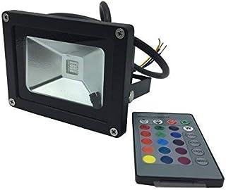 YXH® 10W Proyector RGB LED, Foco Cambio de color Ac 85-240V,LED Luz de seguridad, (16 colores/4modos/24teclas de remoto) Impermeable,Luz del paisaje,focos led interior,LED Proyector (10W)