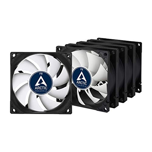 ARCTIC F8 Value Pack - 80 mm Standard Case Fan, Five Pack, Very Quiet Motor, Computer, Push- or Pull Configuration, Fan Speed: 2000 RPM - Black/White