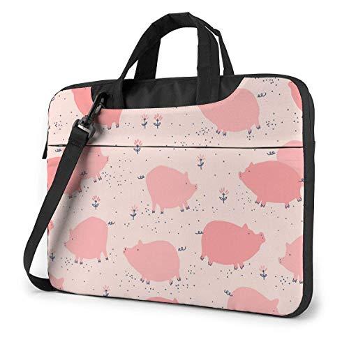 Estuche para computadora portátil Bolsa de computadora Funda para mangas Pink Pig Maletín de hombro impermeable 13 14 15.6 pulgadas
