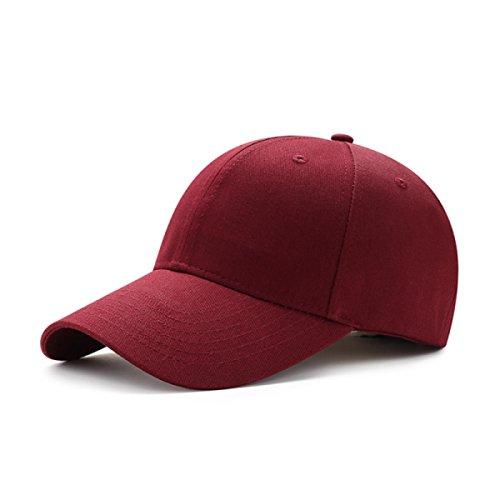 ROMEYA Crème Solaire été Occasionnel Mâle Et Femelle Casquette Chapeau De Soleil Casquette De Baseball Noir Rouge,Red-54-62cm