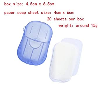 LICHI Lot de 10 Mini Feuilles de Savon jetables en Papier avec boîte de Rangement pour Toilettes, Bain, Voyage, Camping, randonnée