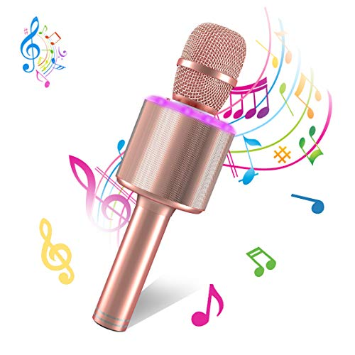 Wireless Bluetooth Karaoke Microphone,Portable Handheld Karaoke Mic Speaker Machine for Kid Adult Girl Home Party Singing Birthday Gift compatible with Android/iPhone/PC or All Smartphone Qarfee Pink