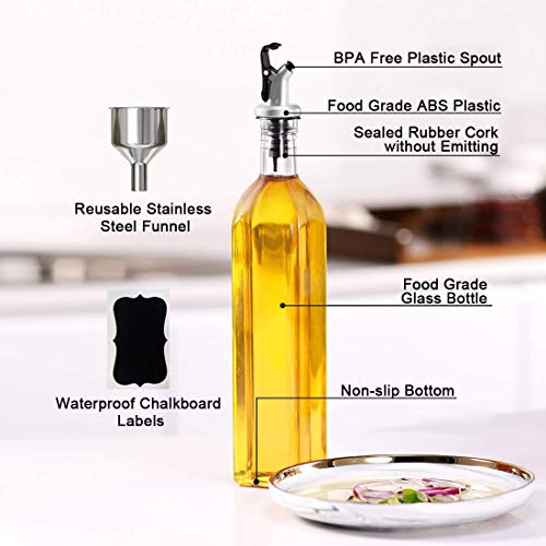 GMISUN Olive Oil Dispenser Bottle,Cooking Oil and Vinegar Cruet Set with 17oz Oil Container Glass Caraf,Stainless Steel Funnel,Oil Pour Spout,Label,3Pack,Clear