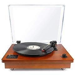 1 BY ONE Record Player Belt-driven Wireless Record Player med inbyggd högtalare och vinyl till MP3-funktion, klassisk design, naturträ