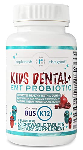 Kids Dental and ENT Probiotic 60 Day Supply - Childrens Oral probiotics with BLIS K12 - Supports Teeth and Gum Health (Cherry Pomegranate Flavor)