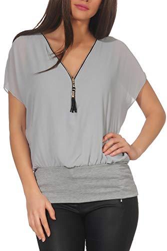 Malito Damen Kurzarm Bluse im Fledermaus Look | Tunika mit Zipper | T-Shirt mit breitem Bund | Shirt - elegant 6298 (hellgrau)