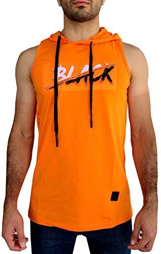 Etzo Hooded Tank Top for Men | 3D Pressed Graphic Stretchy Premium Tank Top with Hood (Orange, Medium)