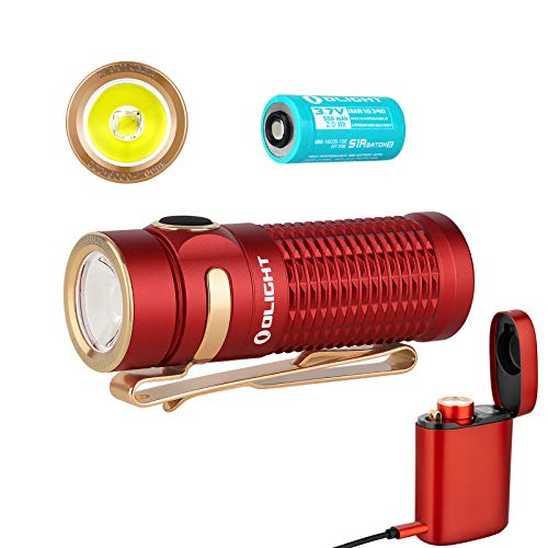 Olight Baton 3 Premium Edition 1200 Lumens CW LED IMR16340 Magnetic Rechargeable Side-switch EDC Flashlight with Wireless Charger and Battery(Red Kit)