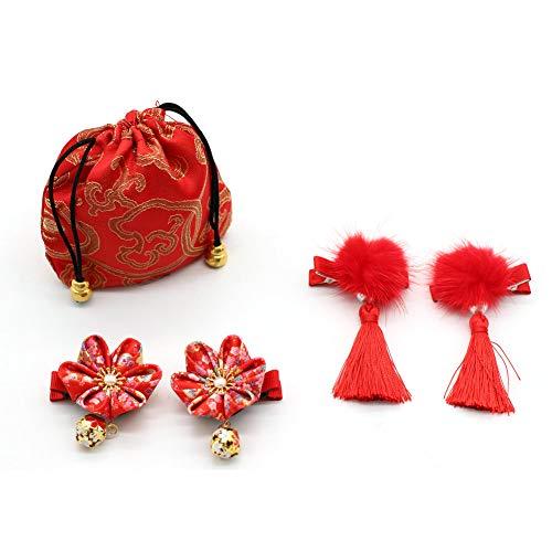 JUNICON Haarspangen im chinesischen Stil, rot, haarig, flauschig, Perlen, Quasten, Haarspangen + Kirschblüten-Haarnadel, Set für Mädchen, Festival, Weihnachten, Neujahrsgeschenk