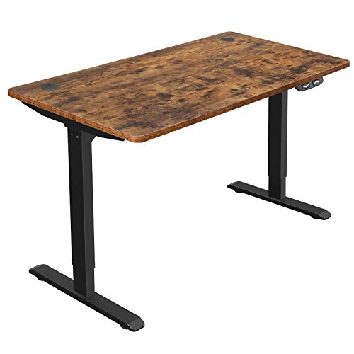 SONGMICS Elektrischer Schreibtisch, höhenverstellbar, Schreibtischständer, Tischgestell mit Motor, 140 x 70 x (73-114) cm, Stahl, vintagebraun-schwarz LSD012B01